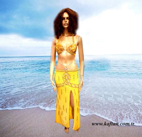 Oryantal Elbisesi likralı sarı Perküsyon