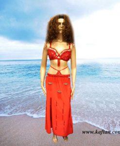 Oryantal Elbisesi Kırmızı Perküsyon