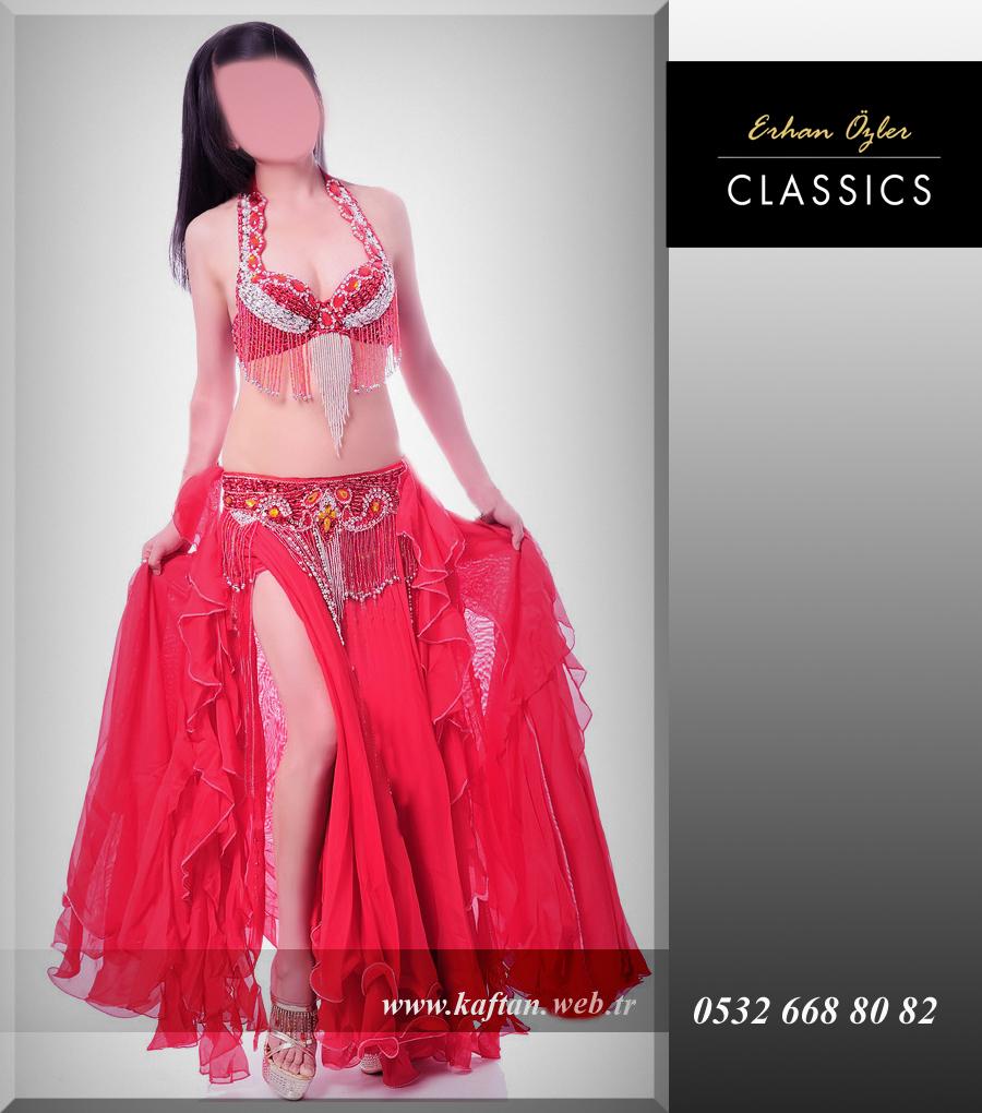 Dansöz elbisesi kırmızı çift yırtmaçlı model