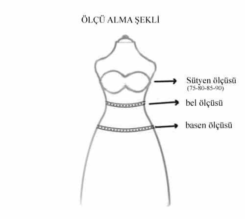 Dansöz kıyafeti için ölçü alma tablosu