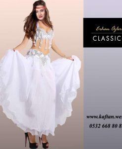 Beyaz püsküllü Göbek dansı elbisesi