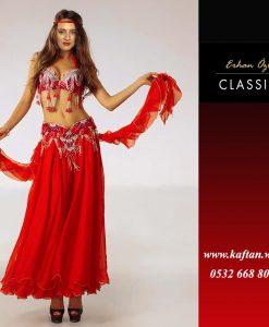 Püsküllü kırmızı renk Dansöz kostümü