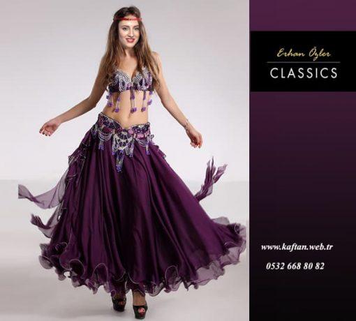 Mor püsküllü dansöz elbisesi